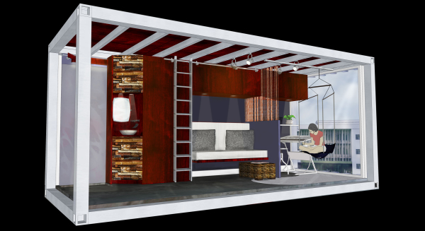 shipping container design, dorm room design, modular design, small space design