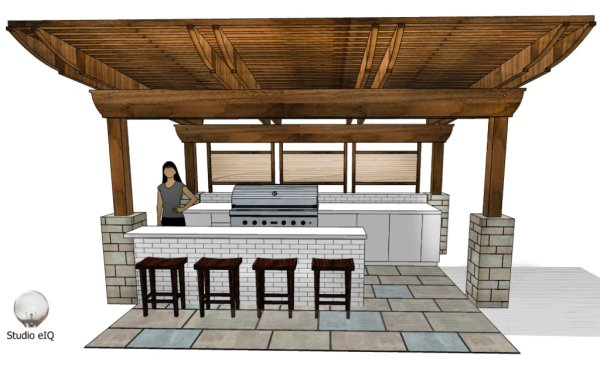 3-D rendering of an outdoor kitchen